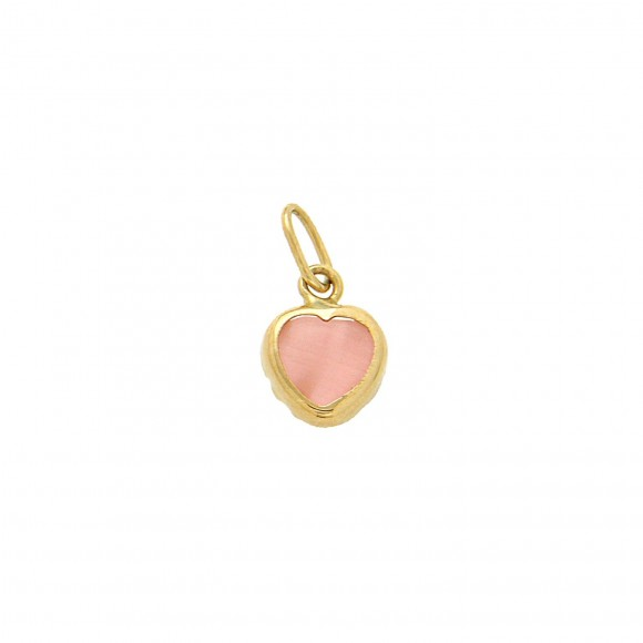 Κρεμαστό μικρό ροζ καρδιά σε κίτρινο χρυσό