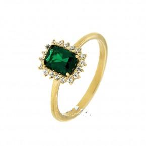 Δαχτυλίδι χρυσό σε ροζέτα, 14 καρατίων, με πράσινο αχάτη.