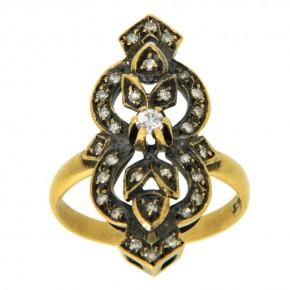 Δαχτυλίδι vintage - αντικέ με διαμάντια 18 καρατίων