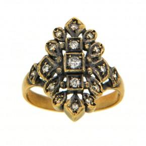 Δαχτυλίδι αντικέ - vintage με διαμάντια 18 καρατίων (κ750)