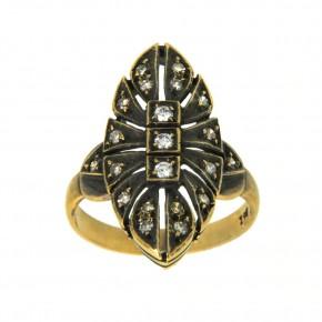 Δαχτυλίδι vintage - αντικέ με μπριγιάν 18 καρατίων