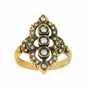 Δαχτυλίδι αντικέ - vintage με διαμάντια 18 καρατίων.