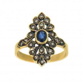 Δαχτυλίδι vintage - αντικέ 18 καρατίων, με μπριγιάν και ορυκτό μπλε ζαφείρι.