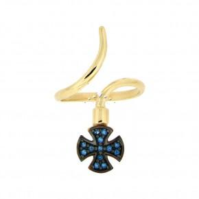 Δαχτυλίδι chevalier, με μπλε  ζιργκόν 14 καρατίων (κ585)