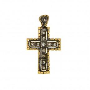 Σταυρός vintage-αντικέ Κ18 με διαμάντια