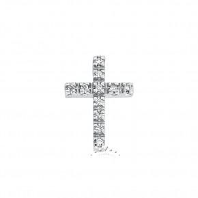Σταυρός με διαμάντια - μπριγιάν, λευκόχρυσος 18 καρατίων.