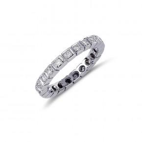 Δαχτυλίδι ολόβερο με διαμάντια - μπριγιάν βάρους 0.35ct, ποιότητας F/VVS2, σε λευκόχρυσο 18 καρατίων.
