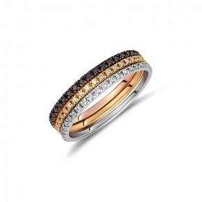 Δαχτυλίδι ολόβερο με διαμάντια (μπριγιάν) βάρους 0.30ct, σε κίτρινο χρυσό 18 καρατίων.
