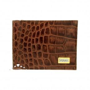 Δερμάτινο πορτοφόλι croco print, Gianfranco Ferre, χρώματος ταμπά. Κωδικός 18275 / SX0CGE-80559-U254.