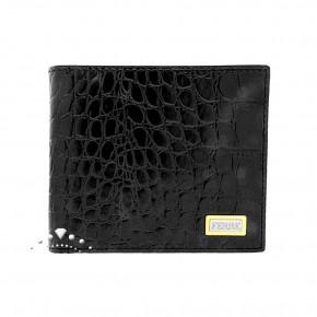 Δερμάτινο πορτοφόλι croco print, Gianfranco Ferre, χρώματος μαύρου. Κωδικός 18285.