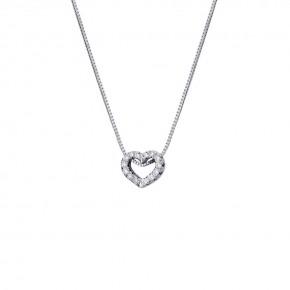 Μενταγιόν καρδιά με διαμάντια - μπριγιάν βάρους 0.07ct, ποιότητας E/VVS2, με ενσωματωμένη αλυσίδα, σε λευκόχρυσο 18 καρατίων.