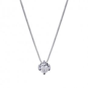 Μενταγιόν μονόπετρo με διαμάντι - μπριγιάν βάρους 0.11ct, ποιότητας F/VS2, σε λευκόχρυσο 18 καρατίων.