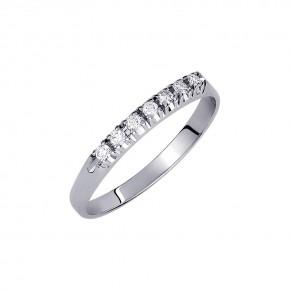 Δαχτυλίδι σειρέ με 7 διαμάντια - μπριγιάν βάρους 0.10ct, ποιότητας F/VVS1, σε λευκόχρυσο 18 καρατίων.