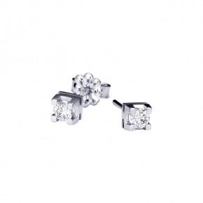 Σκουλαρίκια μονόπετρα με διαμάντια - μπριγιάν συνολικού βάρους 0.12ct, ποιότητας G/VS1, σε λευκόχρυσο 18 καρατίων.