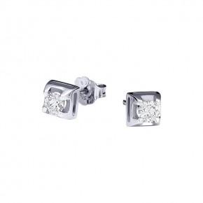 Σκουλαρίκια Diamonds τετράγωνα μονόπετρα