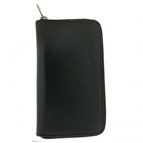 Ατζέντα - organizer για τηλέφωνα, από γνήσιο δέρμα χρώματος μαύρου, με μεταλλικό στυλό, Spalding.