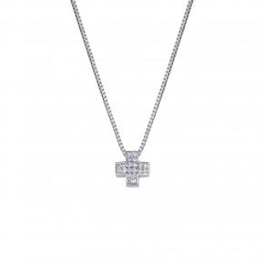 Σταυρός με μπριγιάν και αλυσίδα venetsiana, από λευκόχρυσο 18 καρατίων κ750