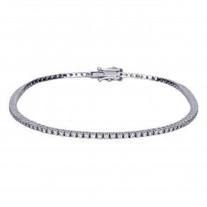 Βραχιόλι ριβιέρα (tennis bracelet)  με διαμάντια - μπριγιάν συνολικού βάρους 3,14ct, ποιότητας F/VS2, σε λευκόχρυσο 18 καρατίων.