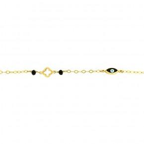 Βραχιόλι 9K χρυσό με σταυρό και μάτι