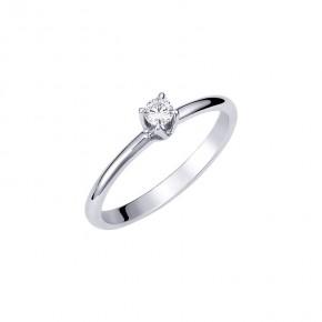 Δαχτυλίδι μονόπετρο με μπριγιάν βάρους 0.10ct, ποιότητας E/VVS2, λευκόχρυσο 18 καρατίων.