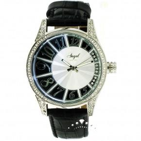 Ρολόι Angel, μαύρο δερμάτινο λουρί