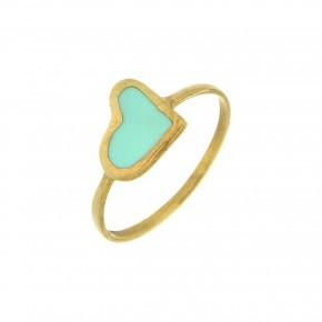 Δαχτυλίδι Smalto τυρκουάζ καρδιά