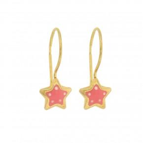 Σκουλαρίκια κρεμαστά ροζ αστέρια