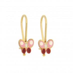 Σκουλαρίκια κρεμαστά ροζ πεταλούδα