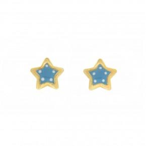 Σκουλαρίκια γαλάζια πουά αστέρια