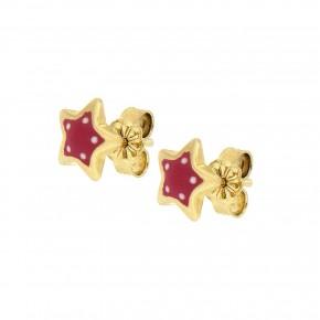 Σκουλαρίκια ροζ πουά αστέρια