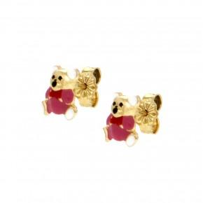 Σκουλαρίκια αρκουδάκια ροζ smalto