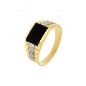 Ανδρικό δαχτυλίδι με όνυχα δίχρωμο
