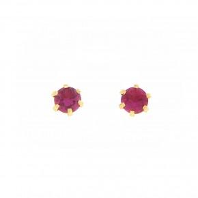 Σκουλαρίκια μονόπετρα με κόκκινη πέτρα