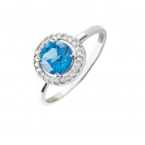Δαχτυλίδι γαλάζια ροζέτα