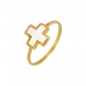 Δαχτυλίδι Smalto άσπρος σταυρός