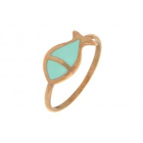 Δαχτυλίδι Smalto τυρκουάζ ψάρι