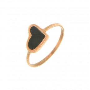 Δαχτυλίδι Smalto μαύρη καρδιά
