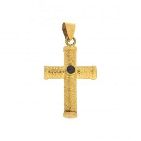 Βυζαντινός σταυρός με ζαφείρι στρόγγυλο
