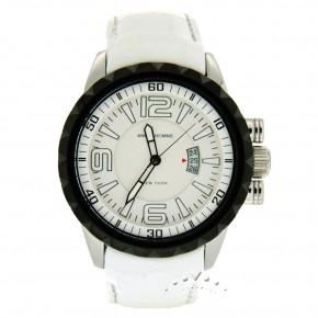 Ρολόι Angel, με άσπρο δερμάτινο λουρί και μαύρη στεφάνη