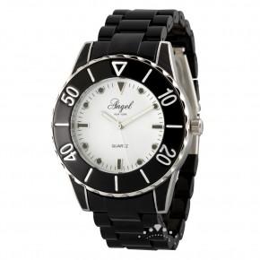 Ρολόι Angel, με μπρασελέ από μαύρο πλαστικό με ασημί λεπτομέρειες