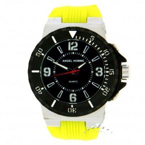 Ρολόι Angel Homme, με κίτρινο καουτσούκ