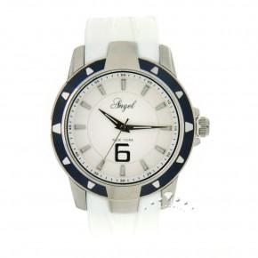 Ρολόι Angel, με άσπρο καουτσούκ και μπλε στεφάνη