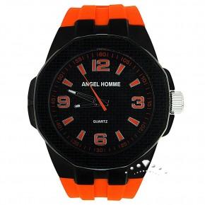 Ρολόι Angel Homme, με πορτοκαλί καουτσούκ
