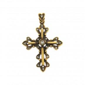 Σταυρός vintage-αντικέ με διαμάντια