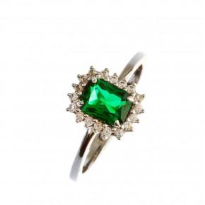 Δαχτυλίδι λευκόχρυσο ορθογώνια πράσινη ροζέτα