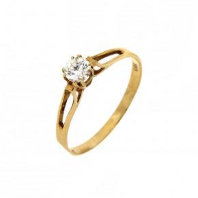 Μονόπετρο δαχτυλίδι minimal κλασικό χρυσό 14 καρατίων με γυαλιστερή βάση.