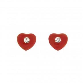 Σκουλαρίκια καρδιά με κόκκινο smalto και πέτρα