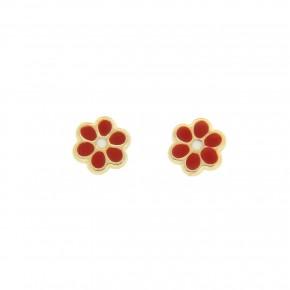 Σκουλαρίκια λουλούδι κόκκινο smalto