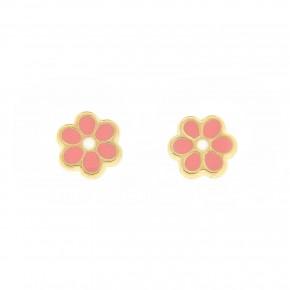 Σκουλαρίκια λουλούδι με ροζ smalto