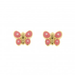 Σκουλαρίκι ροζ πεταλούδες